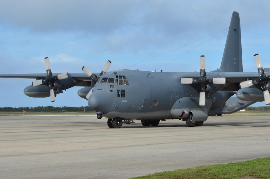 "An HC-130P/N ""King"" fixed-wing combat rescue aircraft piloted by eight Airmen launched July 7, 2017 at approximately 2:30 p.m. transporting six Guardian Angel Airmen who specialize in all types of rescue to assist in a long-range search and rescue for two German citizens whose vessel caught fire approximately 500 nautical miles off the east coast of southern Florida. (U.S. Air Force photo/Senior Airman Brandon Kalloo Sanes)"