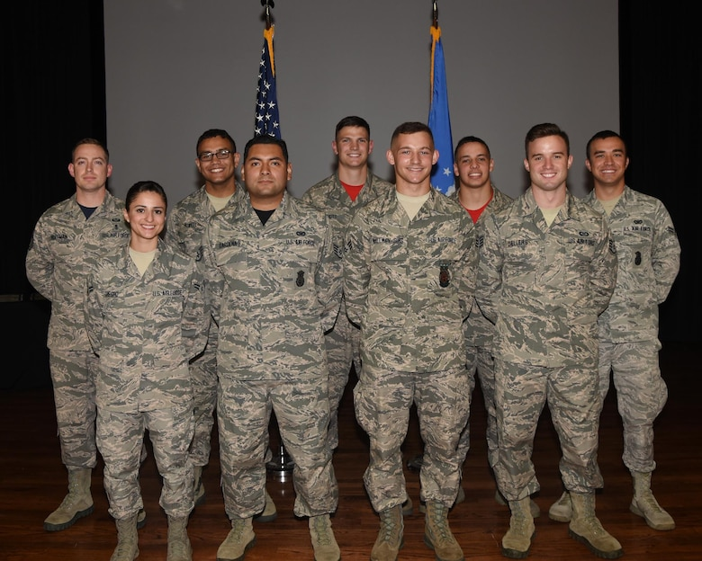 Nine enlisted Airmen were congratulated at the June Enlisted Promotions Ceremony June 30, 2017, at Columbus Air Force Base, Mississippi. The last duty day of each month is reserved for the Enlisted Promotion Ceremony to recognize and praise the Airmen who have earned their new stripe. (U.S. Air Force photo by Melissa Doublin)