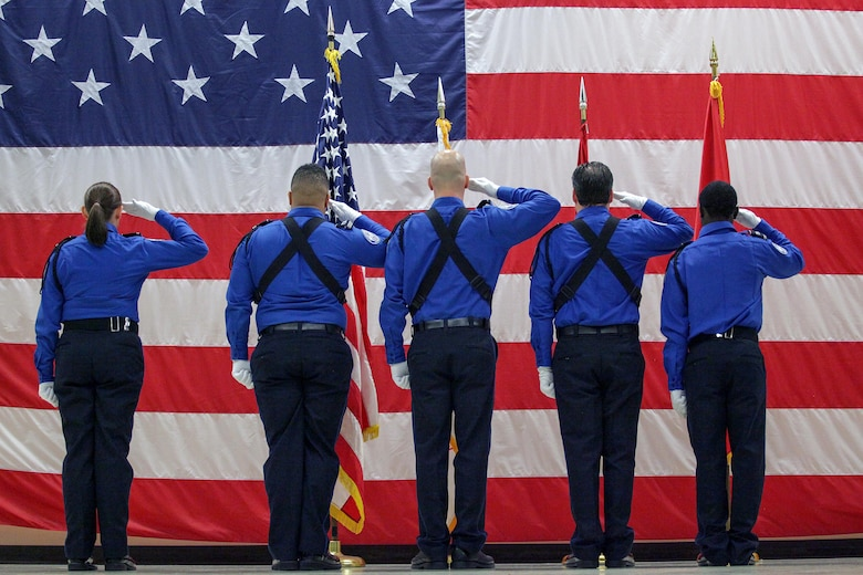 Members of the Transportation Security Administration Honor Guard from the Nashville Airport post the colors during the U.S. Army Corps of Engineers Nashville District Change of Command Ceremony July 7, 2017 at the Tennessee National Guard Armory in Nashville, Tenn. Lt. Col. Cullen A. Jones became the 65th commander of the district.