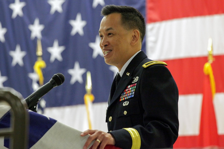 Brig. Gen. Mark Toy (Right), U.S. Army Corps of Engineers Great Lakes and Ohio River Division commander, addresses the audience during the change of command ceremony where Lt. Col. Cullen A. Jones took command of the Nashville District July 7, 2017 at the Tennessee National Guard Armory in Nashville, Tenn.