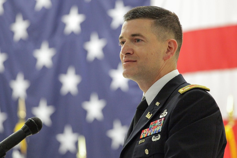 Lt. Col. Cullen A. Jones comments shortly after taking command of the U.S. Army Corps of Engineers Nashville District during a change of command ceremony July 7, 2017 at the Tennessee National Guard Armory in Nashville, Tenn.