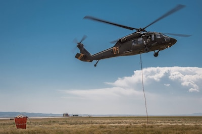 A Wyoming Army National Guard UH-60 Black Hawk helicopter takes off