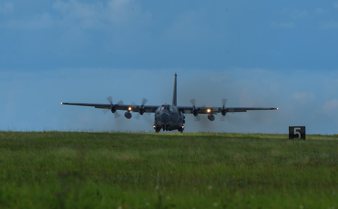 An MC-130H Combat Talon II assigned to the 15th Special Operations Squadron taxis down a runway for a training mission at Hurlburt Field, Fla., July 7, 2017. The MC-130H is equipped to provide in-flight refueling for special operations forces aircraft and combat search and rescue helicopters. (U.S. Air Force photo by Airman 1st Class Rachel Yates)