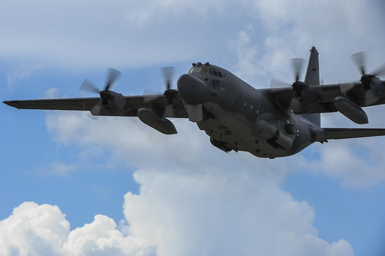 A 15th Special Operations Squadron MC-130H Combat Talon II flies over Hurlburt Field, Fla., during a training mission, July 7, 2017. Aircrew with the 15th SOS train to be able to operate the MC-130H in missions like providing infiltration and exfiltration of special operations forces, and can perform equipment resupply missions to hostile or denied territory anytime, anyplace. (U.S. Air Force photo by Airman 1st Class Rachel Yates)