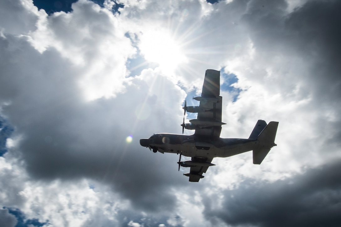 An MC-130H Combat Talon II assigned to the 15th Special Operations Squadron flies over Hurlburt Field, Fla., during a training mission July 7, 2017. Aircrew with the 15th SOS train to be able to operate the MC-130H in missions like providing infiltration and exfiltration of special operations forces, and can perform equipment resupply missions to hostile or denied territory anytime, anyplace. (U.S Air Force photo by Airman 1st Class Joseph Pick)