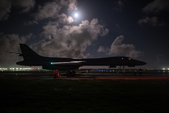 A U.S. Air Force B-1B Lancer assigned to the 9th Expeditionary Bomb Squadron, deployed from Dyess Air Force Base, Texas, prepares for take off from Andersen Air Force Base, Guam to conduct a sequenced bilateral mission with South Korean F-15 and Koku Jieitai (Japan Air Self-Defense Force) F-2 fighter jets, July 7. The mission is in response to a series of increasingly escalatory action by North Korea, including a launch of an intercontinental ballistic missile (ICBM) on July 3. (U.S. Air Force Photo by Airman 1st Class Jacob Skovo)