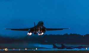 A U.S. Air Force B-1B Lancer assigned to the 9th Expeditionary Bomb Squadron, deployed from Dyess Air Force Base, Texas, takes off from Andersen Air Force Base, Guam to fly a bilateral mission with X Japan Air Self-Defense Force F-X's over the East China Sea, July 6, 2017. This mission marks the first time U.S. Pacific Command B-1B Lancers have conducted combined training with JASDF fighters at night, demonstrating our increasing combined capabilities.