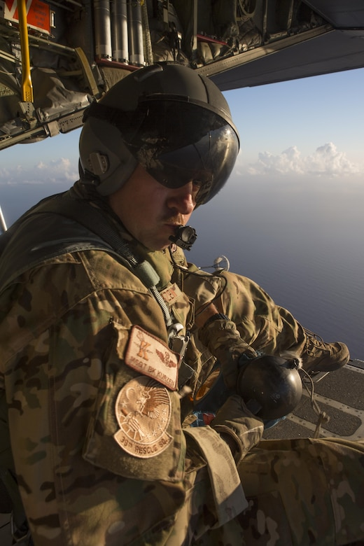 "Master Sgt. Bob Kurzen, HC-130P/N ""King"" loadmaster is part of  concerted rescue effort of approximately 80 wing personnel from the 920th Rescue Wing who rescued two German citizens in distress at sea July 7, 2017 and into July 8. The victim's vessel caught fire approximately 500 nautical miles off the east coast of southern Florida. At the request of the U.S. Coast Guard's Seventh District in Miami, the 920th RQW was alerted by the Air Force Rescue Coordination Center at Tyndall Air Force Base, Florida, to assist in the long-range search and rescue. Approximately 80 wing Citizen Airmen and four wing aircraft helped execute the rescue mission to include, maintenance, operations and support personnel. (U.S. Air Force photo by Master Sgt. Mark Borosch)"