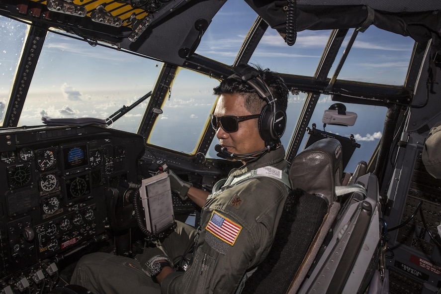 """Maj. Chris Ferrara, HC-130P/N """"King"""" co-pilot, is part of  concerted rescue effort of approximately 80 wing personnel from the 920th Rescue Wing who rescued two German citizens in distress at sea July 7, 2017 and into July 8. The victim's vessel caught fire approximately 500 nautical miles off the east coast of southern Florida. At the request of the U.S. Coast Guard's Seventh District in Miami, the 920th RQW was alerted by the Air Force Rescue Coordination Center at Tyndall Air Force Base, Florida, to assist in the long-range search and rescue. Approximately 80 wing Citizen Airmen and four wing aircraft helped execute the rescue mission to include, maintenance, operations and support personnel. (U.S. Air Force photo by Master Sgt. Mark Borosch)"""