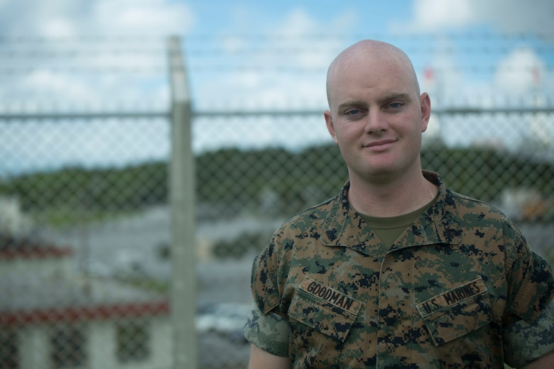 U.S. Marine Cpl. Eric Goodman was one of the five Marines to assist a local Japanese woman on his way down Mount Fuji, Japan, July 3, 2017. The woman, Moe Oda, was found lying on the ground,  hyperventilating and struggling to breathe when the Marines came to her assistance. Together, they created a makeshift stretcher to carry her down approximately two miles to get to medical assistance. Goodman, a 26 year old, Grass Valley, California  native, is a ground radio repairman with Electronics Maintenance Company, 3d Maintenance Battalion, Combat Logistics Regiment 35, 3d Marine Logistics Group, III Marine Expeditionary Force.