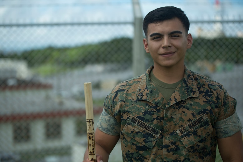 U.S.  Marine Lance Cpl. Avelardo Guevara Osuna was one of the five Marines to assist a local Japanese woman on his way down Mount Fuji, Japan, July 3, 2017. The woman, Moe Oda, was found lying on the ground,  hyperventilating and struggling to breathe when the Marines came to her assistance. Together, they created a makeshift stretcher to carry her down approximately two miles  to get to medical assistance. Guevara Osuna, a 21 year old, Las Vegas, Nevada native, is a ground radio repairman with Electronics Maintenance Company, 3d Maintenance Battalion, Combat Logistics Regiment 35, 3d Marine Logistics Group, III Marine Expeditionary Force.