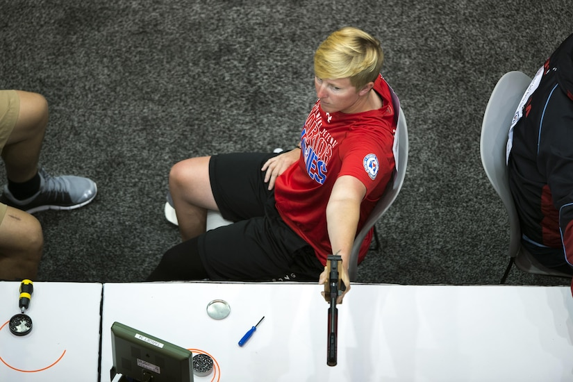 Marine Corps Staff Sgt. Danielle Pothoof competes in pistol shooting during the 2017 Dept. of Defense Warrior Games in Chicago July 6, 2017. The DoD Warrior Games are an annual event allowing wounded, ill and injured service members and veterans to compete in Paralympic-style sports. (DoD photo by EJ Hersom)