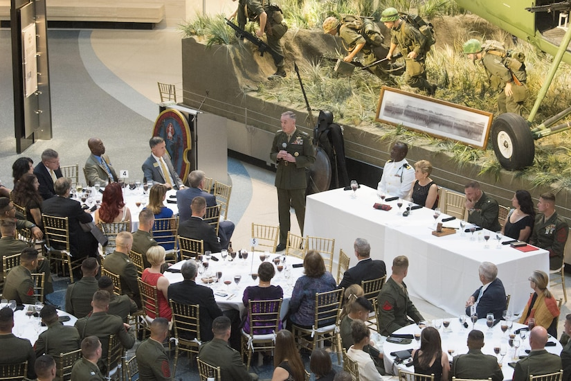 Marine Corps Gen. Joseph F. Dunford Jr., chairman of the Joint Chiefs of Staff, delivers remarks during the 100th Anniversary Mess Night of the 2nd Battalion, 6th Marine Regiment, a battalion he commanded from 1996 to 1998, at the National Marine Corps Museum in Quantica, Va., July 7, 2017. During the event, Dunford posthumously awarded the Silver Star Medal to the family of Marine Cpl. Albert Gettings, who died of wounds sustained due to enemy small-arms fire while conducting combat operations in Fallujah, Iraq in 2006. (Dept. of Defense photo by Navy Petty Officer 2nd Class Dominique A. Pineiro/Released)