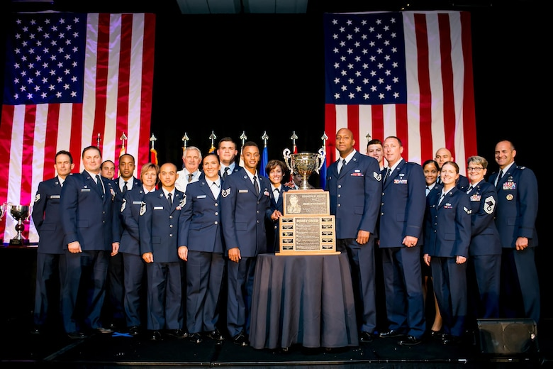 Members of the Kentucky Air National Guard's 123rd Services Flight receive the Senior Master Sgt. Kenneth W. Disney Award of Excellence at the Military Foodservice Awards banquet in Chicago on May 19, 2017. The honor is awarded annually to the best food service operation in the Air National Guard. (Courtesy Photo)