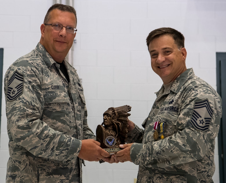 Chief Master Sgt. Gregory Curry presents the 130th Chief's Council award to Chief Master Sgt. Michael Childers as a sign of his hard work for the 130th Airlift Wing. Childers previously served as president of the 130th Airlift Wing Chief's Council. (U.S. Air National Guard photo by Staff Sgt. Adam Juchniewicz)