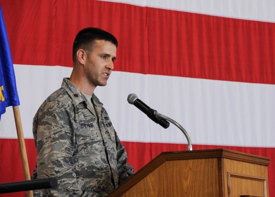 Maj. James Chevalier, the new 442d Aircraft Maintenance Squadron commander, addresses the audience during his assumption of command ceremony at Whiteman Air Force Base, Mo., July 8, 2017. Chevalier enlisted in the Air Force Reserve in 1999 as an emergency management specialist and began his career with the 442d Fighter Wing. (U.S. Air Force photo by Senior Airman Missy Sterling)