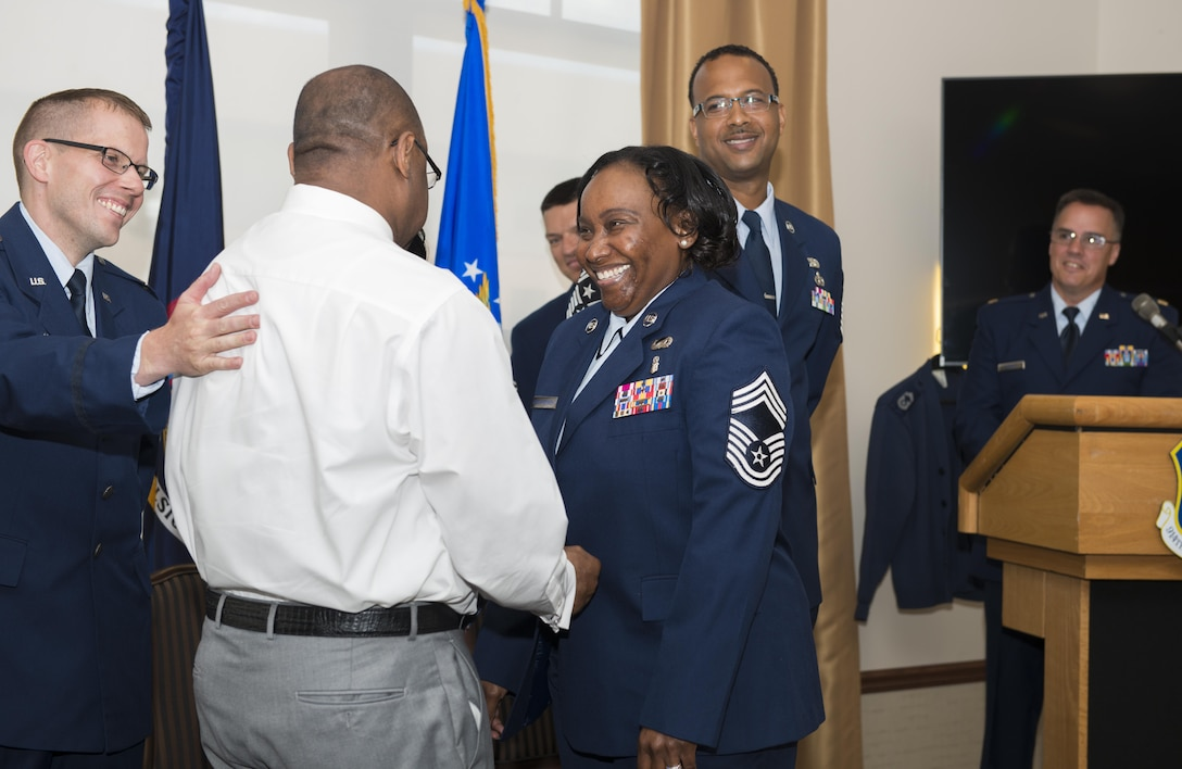 Former Senior Master Sgt. Francenia Reed-McKnight, is promoted to the rank of Chief Master Sgt. during an official ceremony, July 8, 2017, Niagara Falls Air Reserve Station, N.Y. Reed-McKnight is the first member of the Force Support Squadron to be promoted from within the squadron to the rank of Chief since its inception. (U.S. Air Force photo by Tech. Sgt. Stephanie Sawyer)