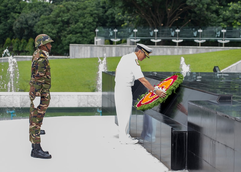 170708-N-WY954-488DHAKA, BANGLADESH (July 8, 2017) – Adm. Harry Harris, Commander U.S. Pacific Command (PACOM), lays a wreath at the Skikha Anirban eternal flame to honor those who sacrificed their lives for Bangladesh's liberation in 1971. This is Harris' first visit to Bangladesh as PACOM commander. During the visit he met with counterparts and government officials for discussions on military cooperation and regional security initiatives in the Indo-Asia Pacific. (U.S. Navy photo by Mass Communications Specialist 2nd Class Robin W. Peak/ Released)