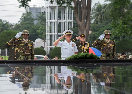 170708-N-WY954-522DHAKA, BANGLADESH (July 8, 2017) – Adm. Harry Harris, Commander U.S. Pacific Command (PACOM), and members of the Bangladesh Army render a salute during a wreath laying ceremony at the Skikha Anirban eternal flame to honor those who sacrificed their lives for Bangladesh's liberation in 1971. This is Harris' first visit to Bangladesh as PACOM commander. During the visit he met with counterparts and government officials for discussions on military cooperation and regional security initiatives in the Indo-Asia Pacific. (U.S. Navy photo by Mass Communications Specialist 2nd Class Robin W. Peak/ Released)