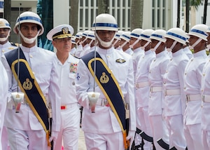 170709-N-WY954-310 DHAKA, BANGLADESH (July 9, 2017) – Adm. Harry Harris, Commander U.S. Pacific Command (PACOM), participates in an honors ceremony conducted at the Bangladesh Navy Headquarters. This is Harris' first visit to Bangladesh as PACOM commander. During the visit he met with counterparts and government officials for discussions on military cooperation and regional security initiatives in the Indo-Asia Pacific. (U.S. Navy photo by Mass Communications Specialist 2nd Class Robin W. Peak/ Released)