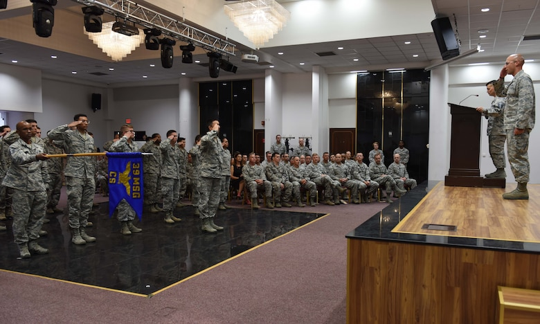 U.S. Air Force Lt. Col. Timothy Meerstein, 39th Communications Squadron outgoing commander, renders his final salute to the Airmen of the 39th CS during a change of command ceremony July 6, 2017, at Incirlik Air Base, Turkey. 39th CS Airmen attended the change of command to welcome their new commander. (U.S. Air Force photo by Senior Airman Jasmonet D. Jackson)