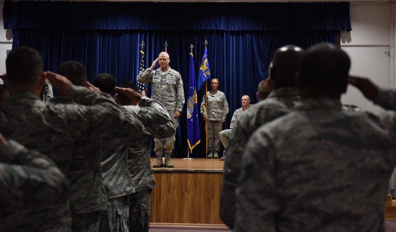 U.S. Air Force Lt. Col. Kenneth Raszinski, 39th Force Support Squadron outgoing commander, renders his final salute to the Airmen of the 39th Force Support Squadron during a change of command ceremony July 7, 2017, at Incirlik Air Base, Turkey. The 39th FSS Airmen attended the change of command to welcome their new commander. (U.S. Air Force photo by Senior Airman Jasmonet D. Jackson)