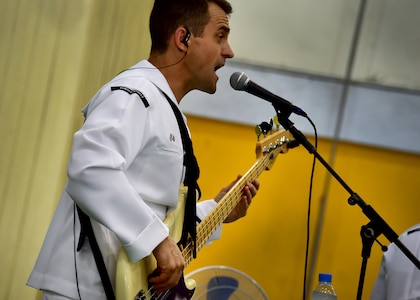 170602-N-QV906-044 PATTAYA, Thailand (June 2, 2017) Navy Musician 2nd Class Mark Lame, of the U.S. 7th Fleet Band, Orient Express, jams out
