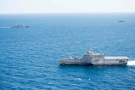 170603-N-PD309-052 GULF OF THAILAND (June 3, 2017) Littoral combat ship USS Coronado (LCS 4) sails with the Royal Thai Navy as part of a divisional tactics exercise during Cooperation Afloat Readiness and Training (CARAT) Thailand. CARAT is a series of Pacific Command-sponsored, U.S Pacific Fleet-led bilateral exercises held annually in South and Southeast Asia to strengthen relationships and enhance force readiness. CARAT exercise events cover a broad range of naval skill areas and disciplines including surface, undersea, air, and amphibious warfare; maritime security operations; riverine, jungle, and explosive ordnance disposal operations; combat construction; diving and salvage; search and rescue; maritime patrol and reconnaissance aviation; maritime domain awareness; military law, public affairs and military medicine; and humanitarian assistance and disaster response. (U.S. Navy photo by Mass Communication Specialist 3rd Class Deven Leigh Ellis/Released)