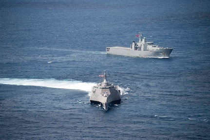 170603-N-PD309-086 GULF OF THAILAND (June 3, 2017) Littoral combat ship USS Coronado (LCS 4) sails with HTMS Angthong (LPD 791) from the Royal Thai Navy as part of a division tactics exercise during Cooperation Afloat Readiness and Training (CARAT) Thailand. CARAT is a series of Pacific Command-sponsored, U.S Pacific Fleet-led bilateral exercises held annually in South and Southeast Asia to strengthen relationships and enhance force readiness. CARAT exercise events cover a broad range of naval skill areas and disciplines including surface, undersea, air, and amphibious warfare; maritime security operations; riverine, jungle, and explosive ordnance disposal operations; combat construction; diving and salvage; search and rescue; maritime patrol and reconnaissance aviation; maritime domain awareness; military law, public affairs and military medicine; and humanitarian assistance and disaster response. (U.S. Navy photo by Mass Communication Specialist 3rd Class Deven Leigh Ellis/Released)
