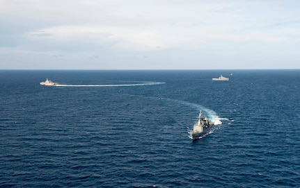 170603-N-PD309-288 GULF OF THAILAND (June 3, 2017) Littoral combat ship USS Coronado (LCS 4), left,  sails with the Royal Thai Navy as part of a division tactics exercise during Cooperation Afloat Readiness and Training (CARAT) Thailand. CARAT is a series of Pacific Command-sponsored, U.S Pacific Fleet-led bilateral exercises held annually in South and Southeast Asia to strengthen relationships and enhance force readiness. CARAT exercise events cover a broad range of naval skill areas and disciplines including surface, undersea, air, and amphibious warfare; maritime security operations; riverine, jungle, and explosive ordnance disposal operations; combat construction; diving and salvage; search and rescue; maritime patrol and reconnaissance aviation; maritime domain awareness; military law, public affairs and military medicine; and humanitarian assistance and disaster response. (U.S. Navy photo by Mass Communication Specialist 3rd Class Deven Leigh Ellis/Released)