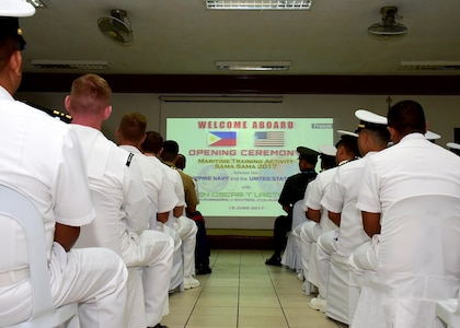 170619-N-QV906-027 CEBU, Philippines (June 19, 2017) Service members from the U.S. Navy and Marine Corps and the Armed Forces of the Philippines attend the inaugural opening ceremony for Maritime Training Activity (MTA) Sama Sama 2017 at Naval Forces Central in Cebu, Philippines, June 16.  MTA Sama Sama is a bilateral maritime exercise between U.S. and Philippine naval forces and is designed to strengthen cooperation and interoperabillty between the nations' armed forces.  (U.S. Navy photo by Mass Communication Specialist 1st Class Micah Blechner/RELEASED)