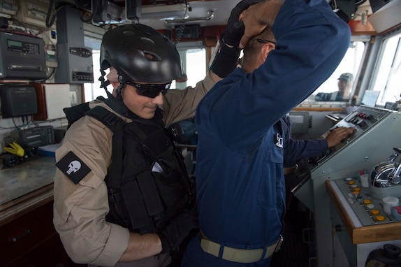 170623-N-PD309-203 BOHOL SEA (June 23, 2017) Lt. Jonathan Godbolt, assigned to the visit, board, search and seizure (VBSS) team aboard littoral combat ship USS Coronado (LCS 4), searches a member of Philippine Navy ship BRP BATAK (LC 299) during a VBSS exercise for Maritime Training Activity (MTA) Sama Sama 2017. MTA Sama Sama is a bilateral maritime exercise between U.S. and Philippine naval forces and is designed to strengthen cooperation and interoperability between the nations' armed forces.  (U.S. Navy photo by Mass Communication Specialist 3rd Class Deven Leigh Ellis/Released)