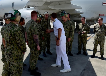 170623-N-QV906-045 CEBU, Philippines (June 23, 2017) Rear Adm. Don Gabrielson, Commander, Logistics Group Western Pacific, greets Sailors of Combat Air Crew 4 attached to Patrol Squadron 26 (VP-26) during Maritime Training Activity (MTA) Sama Sama 2017 in Cebu, Philippines, June 23. MTA Sama Sama is a bilateral maritime exercise between U.S. and Philippine naval forces and is designed to strengthen cooperation and interoperability between the nations' armed forces.  (U.S. Navy photo by Mass Communication Specialist 1st Class Micah Blechner/RELEASED)