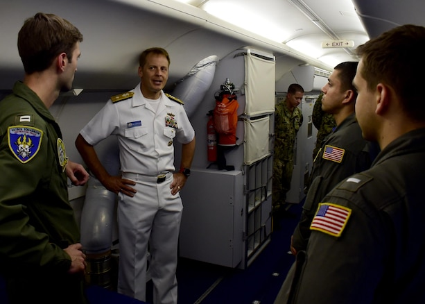 170623-N-QV906-077 CEBU, Philippines (June 23, 2017) Rear Adm. Don Gabrielson, Commander, Logistics Group Western Pacific, visits with Sailors of Combat Air Crew 4 attached to Patrol Squadron 26 (VP-26) during Maritime Training Activity (MTA) Sama Sama 2017 in Cebu, Philippines, June 23. MTA Sama Sama is a bilateral maritime exercise between U.S. and Philippine naval forces and is designed to strengthen cooperation and interoperability between the nations' armed forces.  (U.S. Navy photo by Mass Communication Specialist 1st Class Micah Blechner/RELEASED)