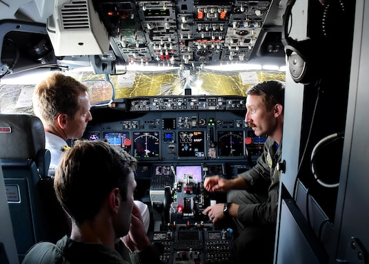 170623-N-QV906-082 CEBU, Philippines (June 23, 2017) Lt. Ryan Johnson (right) and Lt. Carson Burton (bottom left) of Combat Air Crew 4 attached to Patrol Squadron 26 (VP-26) discuss the intricacies of a P-8 Poseidon aircraft cockpit during Maritime Training Activity (MTA) Sama Sama in Cebu, Philippines, June 23.  MTA Sama Sama is a bilateral maritime exercise between U.S. and Philippine naval forces and is designed to strengthen cooperation and interoperability between the nations' armed forces.  (U.S. Navy photo by Mass Communication Specialist 1st Class Micah Blechner/RELEASED)