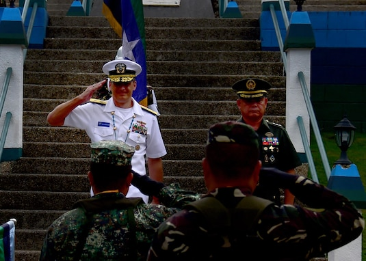 170623-N-QV906-249 CAMP LAPU-LAPU, Philippines (June 23, 2017) Rear Adm. Don Gabrielson, Commander, Logistics Group Western Pacific, salutes assembled Armed Forces of the Philippines servicemembers during Maritime Training Activity (MTA) Sama Sama 2017 at Camp Lapu-Lapu, Philippines, June 23.  MTA Sama Sama is a bilateral maritime exercise between U.S. and Philippine naval forces and is designed to strengthen cooperation and interoperability between the nations' armed forces.  (U.S. Navy photo by Mass Communication Specialist 1st Class Micah Blechner/RELEASED)