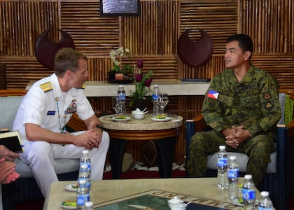170623-N-QV906-310 CAMP LAPU-LAPU, Philippines (June 23, 2017) Rear Adm. Don Gabrielson, Commander, Logistics Group Western Pacific, and Maj. Gen. Oscar Lactao, Commander, Armed Forces of the Philippines Central Command, discuss future bilateral training opportunities during Maritime Training Activity (MTA) Sama Sama 2017 at Camp Lapu-Lapu, Philippines, June 23.  MTA Sama Sama is a bilateral maritime exercise between U.S. and Philippine naval forces and is designed to strengthen cooperation and interoperability between the nations' armed forces.  (U.S. Navy photo by Mass Communication Specialist 1st Class Micah Blechner/RELEASED)