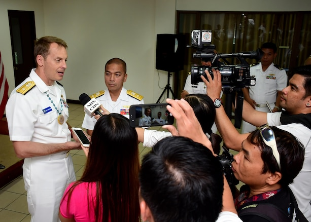 170624-N-QV906-092 CEBU, Philippines (June 24, 2017) Rear Adm. Don Gabrielson (left), Commander, Task Force 73, and Commodore Loumer Bernabe (right), Commander, Armed Forces of the Philippines Naval Forces Central Command, answer reporter's questions after the closing ceremony for Maritime Training Activity (MTA) Sama Sama 2017 in Cebu, Philippines, June 24.  MTA Sama Sama is a bilateral maritime exercise between U.S. and Philippine naval forces and is designed to strengthen cooperation and interoperability between the nations' armed forces.  (U.S. Navy photo by Mass Communication Specialist 1st Class Micah Blechner/RELEASED)