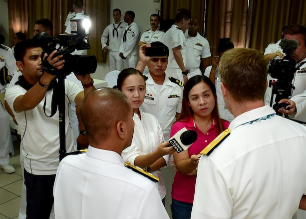170624-N-QV906-121 CEBU, Philippines (June 24, 2017) Rear Adm. Don Gabrielson (right), Commander, Task Force 73, and Commodore Loumer Bernabe (left), Commander, Armed Forces of the Philippines Naval Forces Central Command, answer reporters questions after the closing ceremony for Maritime Training Activity (MTA) Sama Sama 2017 in Cebu, Philippines, June 24.  MTA Sama Sama is a bilateral maritime exercise between U.S. and Philippine naval forces and is designed to strengthen cooperation and interoperability between the nations' armed forces.  (U.S. Navy photo by Mass Communication Specialist 1st Class Micah Blechner/RELEASED)