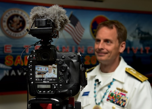 170624-N-QV906-148 CEBU, Philippines (June 24, 2017) Rear Adm. Don Gabrielson, Commander, Task Force 73, answers a reporter's questions after the closing ceremony for Maritime Training Activity (MTA) Sama Sama 2017 in Cebu, Philippines, June 24.  MTA Sama Sama is a bilateral maritime exercise between U.S. and Philippine naval forces and is designed to strengthen cooperation and interoperability between the nations' armed forces.  (U.S. Navy photo by Mass Communication Specialist 1st Class Micah Blechner/RELEASED)