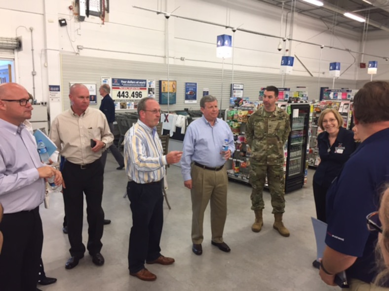 RAF Mildenhall Exchange store manager John Monaghan shows Army & Air Force Exchange Service Director/CEO Tom Shull around the store July 7, 2017, at RAF Mildenhall, England. Shull and Exchange Senior Enlisted Advisor Chief Master Sgt. Luis Reyes toured the Mildenhall Exchange and to understand the scope of how the Exchange supports Airmen and families far from home. (Courtesy photo)