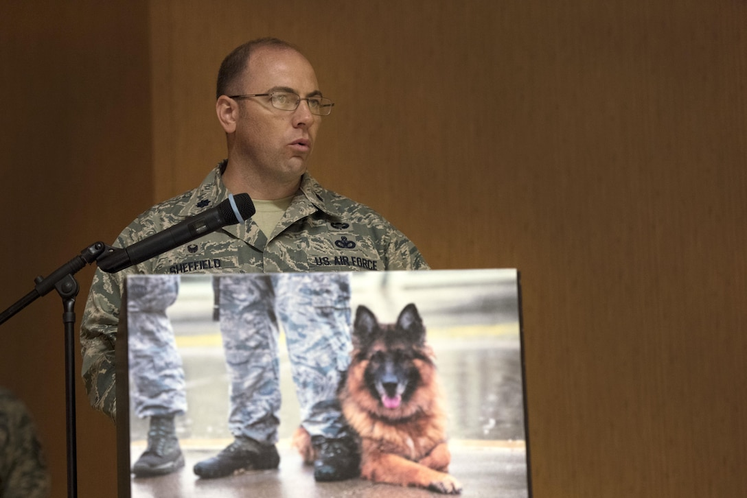 U.S. Air Force Lt. Col. Christopher Sheffield, 39th Security Forces Squadron commander, speaks at Military Working Dog Jerry's retirement ceremony July 10, 2017, at Incirlik Air Base, Turkey. Both canine and human friends gathered to celebrate MWD Jerry's seven years of faithful service to the Air Force. (U.S. Air Force photo by Airman 1st Class Kristan Campbell)