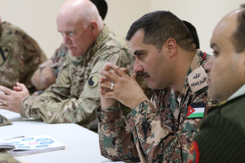 Col. Brent Johnson (left), Staff Judge Advocate for the 29th Infantry Division and Task Force Spartan, participates in a symposium on operational law and military justice with military judges from the Jordan Armed Forces- Arab Army April 25, 2017, near Amman, Jordan. The four-day symposium included U.S. Army and U.S. Air Force legal professionals from the U.S. Central Command and military judges from the Jordan Armed Forces- Arab Army. (U.S. Army National Guard photo by Master Sgt. A.J. Coyne)