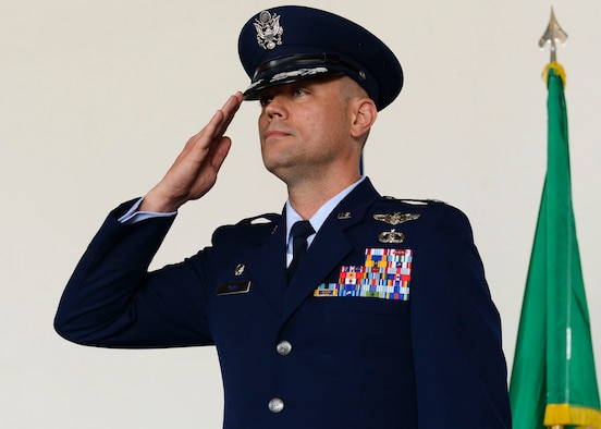 Col. Jeffrey York takes command of the 31st Mission Support Group from Col. Jenise Carroll during a change of command ceremony, July 7, 2017, at Aviano Air Base, Italy. Brig. Gen. Lance Landrum, 31st Fighter Wing commander, presided over the event. (U.S. Air Force photo by Staff Sgt. Austin Harvill)