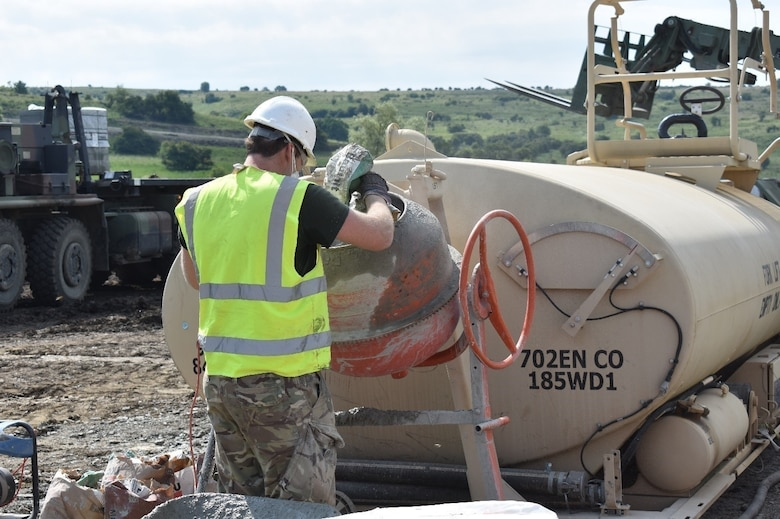 Sapper Eoin Mulligan of the 225th Field Engineers, U.K. Royal Monmouthshire Royal Engineers (Militia), mixes grout for a Light Demolition Range in a joint effort by the 926th Engineer Brigade and the U.K. Royal Monmouthshire Royal Engineers (Militia). The construction project is a part of Operation Resolute Castle 2017 at the Joint National Training Center, Cincu, Romania. Resolute Castle is an exercise strengthening the NATO alliance and enhancing its capacity for joint training and response to threats within the region.