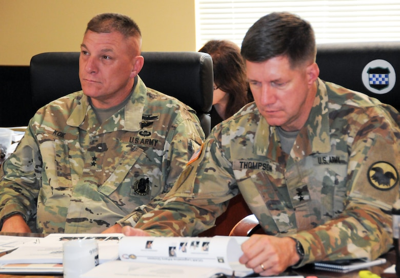 Maj. Gen. Tracy A. Thompson, deputy commanding general (Support) for the Army Reserve (right), and Maj. Gen. Troy D. Kok, commanding general of the Army Reserve's 99th Regional Support Command, lead the 2017 Army Reserve Ambassador Seminar July 6-9 at the Maj. John P. Pryor Army Reserve Center on Joint Base McGuire-Dix-Lakehurst, New Jersey. Army Reserve ambassadors enhance Soldier and unit readiness by developing awareness and advocacy with community leaders and serving as bridges to communities across the nation.