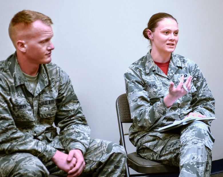 Junior Airmen share ideas on how to revitalize squadrons with a field visit team July 8, 2017, at Naval Air Station Fort Worth Joint Reserve Base. More than 200 reserve, guard, active-duty airmen, spouses and civilians participated in the groups created to discuss the Air Force Chief of Staff's first focus area.