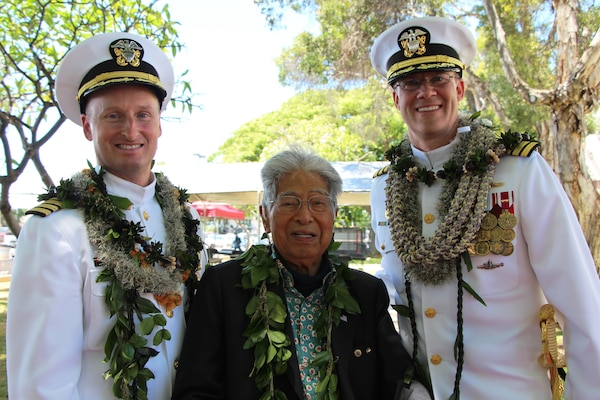 Retired Senator Daniel Akaka of Hawaii is flanked by Capt. Jamie Kalowsky and Capt. Greg Burton following the change of command ceremony for Pearl Harbor Naval Shipyard and Intermediate Maintenance Facility.  Senator Akaka delivered the invocation and benediction at the ceremony, during which Capt. Burton became the Shipyard's 47th commanding officer.  The change of command took place in front of the Shipyard Headquarters Building on Friday, July 7, 2017