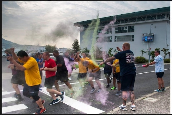 DLA Distribution Yokosuka, Japan, employees participate in the Lesbian, Gay, Bisexual and Transgender Month 5K color run.