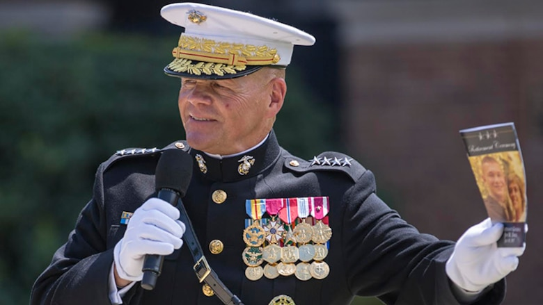Commandant of the Marine Corps Gen. Robert B. Neller gives remarks during the retirement ceremony of U.S. Marine Corps Lt. Gen. Jon M. Davis, deputy commandant, Aviation, at Marine Barracks Washington, Washington,D.C., July 10, 2017. Davis retired after 37 years of service.